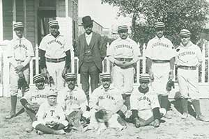 The Tuscarora town team, year unknown. The man second from the left resembles Wheezer.