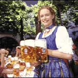 Ingrid serves the beer at the Hofbrau Haus in Las Vegas