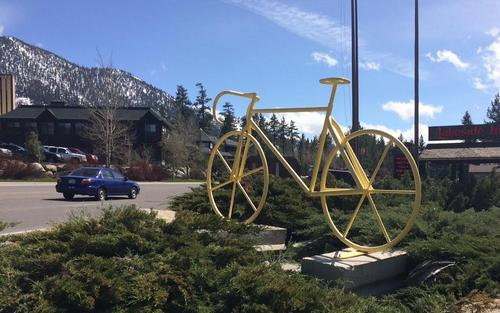 bicycle sculpture for Amgen race at Lakeside
