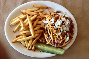 Chilicheeseburger at the Border Inn, Baker Nevada