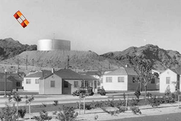 Box kite, water tank and Haboob, Boulder City Nevada 1935
