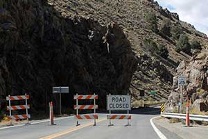 Highway 342 closed at Devil's Gate, Silver City Nevada