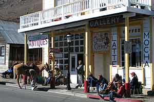 horses outside a Virginia City shop 2004