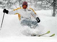 Curtis Fong skis Nevada