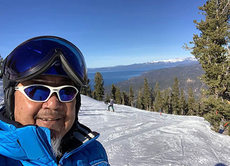 Curtis Fong at the Olympic Express overlooking Lake Tahoe