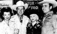 Dale Evans, Roy Rogers, Reno Browne and Whip Wilson get together for a 1950s Hollywood event.