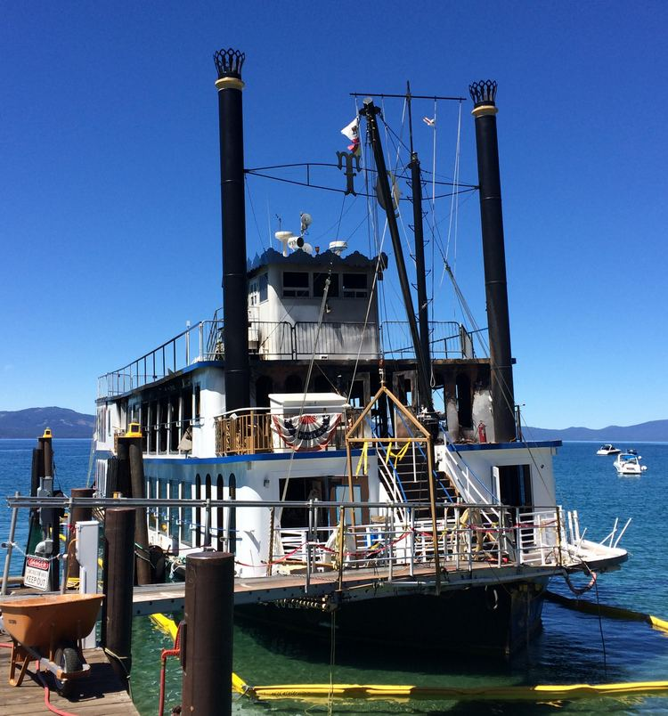 Iconic sternwheeler the Tahoe Queen undergoing repairs following extensive damage by a fire.