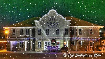 Ely Depot at Christmas by Deb Southerland