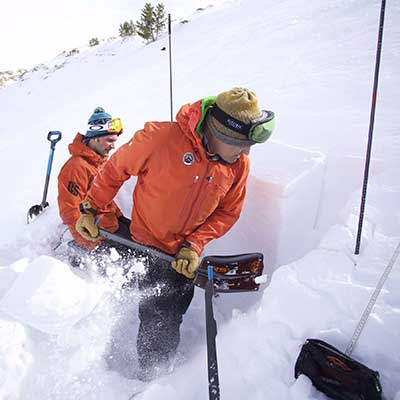 Experienced guides test the snow in the Rubies