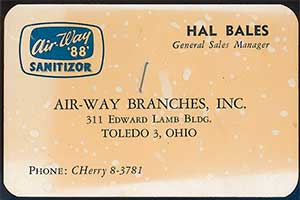 Hal Bales, General Sales Manager CHerry 8-3781