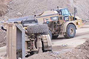 Haul truck in pit accident