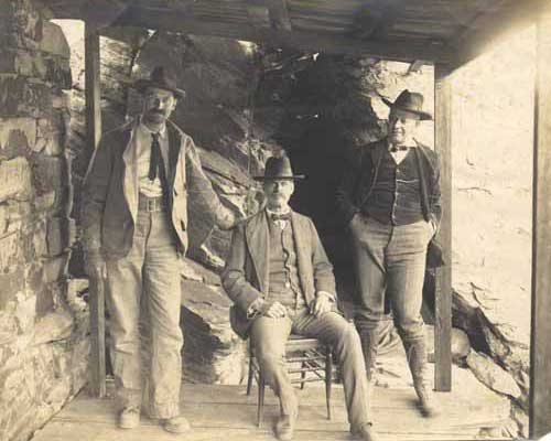 Jim Cain, center, with Harry Gorham, right, and an unknown colleague at Aurora Nevada about 1905