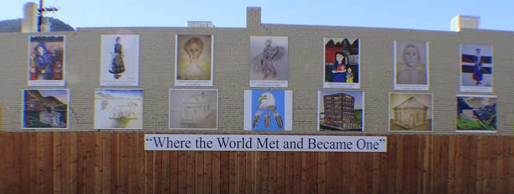 "This mural, ""Where the World Met and Became One,"" depicts the ethnic heritage of Ely"