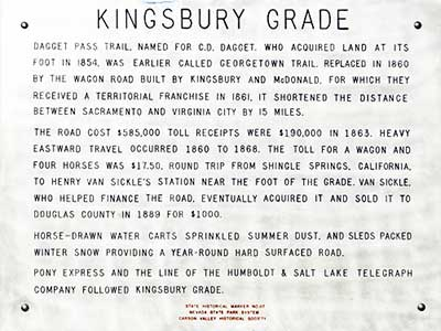 Kingsbury Grade Historical Marker