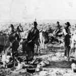Herman Knickerbocker (center) as a single-blanket prospector at Rawhide.
