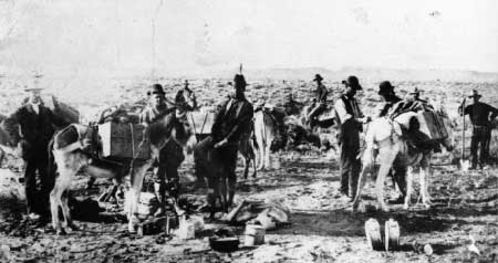 Herman Knickerbocker (center) as a single-blanket prospector at Rawhide.