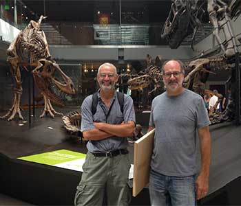 Professor Sander and Luis Chiappe at the Natural History Museum Laboratory