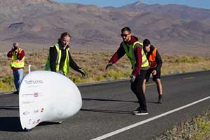 The morning launch at the World's Fastest Human-Powered Speed Championship in Battle Mountain Nevada