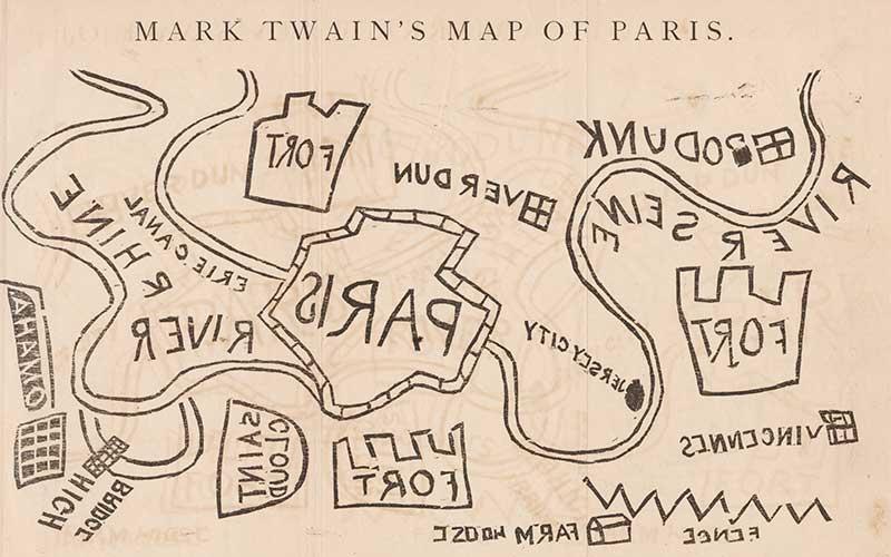 Mark Twain's map of Paris