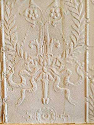 Pressed tin wall panel at The Martin Hotel, Winnemucca Nevada