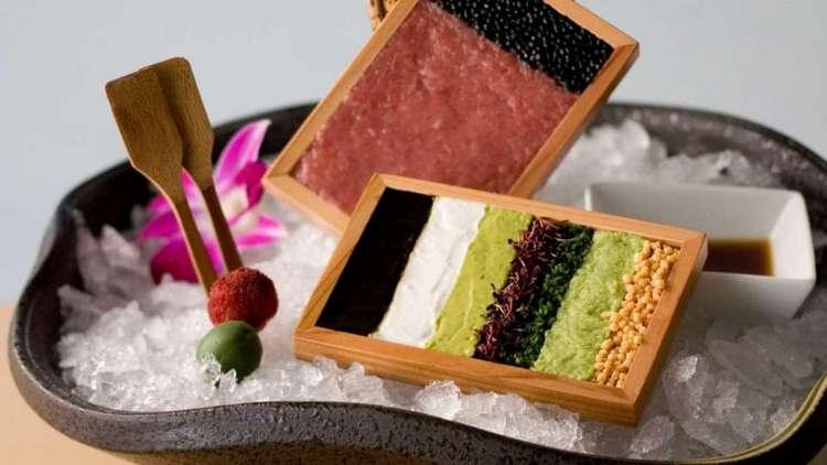 Among the tantalizing appetizers at Iron Chef Morimoto is Toro Tartare -- Wasabi, Nori Paste, Sour Cream, Sturgeon, and Caviar
