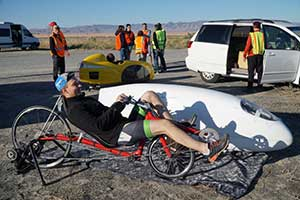 limbering up at the World's Fastest Human-Powered Speed Championship in Battle Mountain Nevada