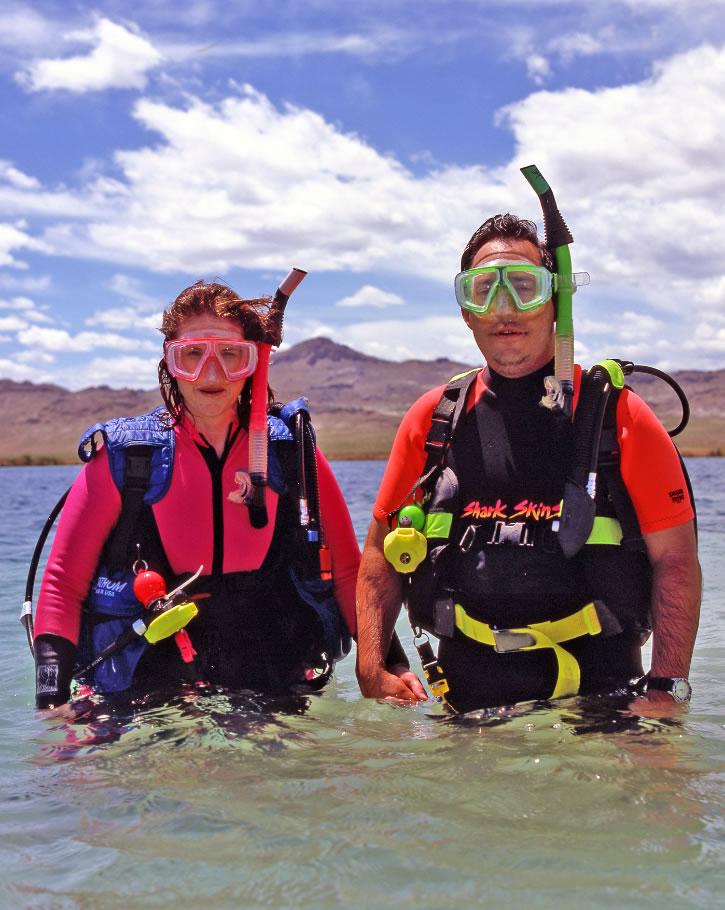Scuba divers in Blue Lake Nevada