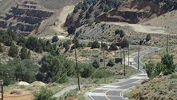 Much patched Highway in Gold Hill Nevada