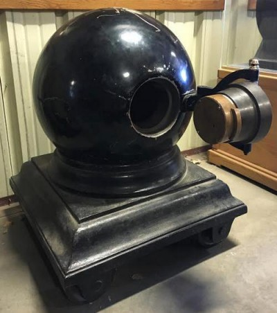 The cannonball safe with its door open. The safe was designed to foil any attempt by robbers to open it by any technique known at the time, including blasting the door open with liquid nitroglycerin.