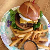 Classic burger at the Pony Express Deli, Eureka Nevada