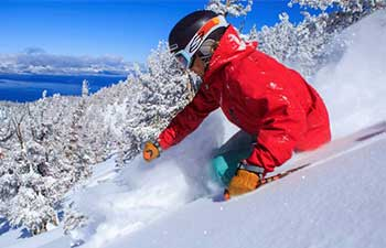 Skiing in powder at Heavenly Valley Lake Tahoe Nevada
