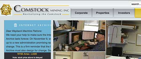 "Comstock Mining Inc corporate website: ""Revitalizing the Comstock"""