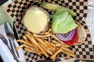 SantaFe Burger at the Roadrunner Cafe, Dayton Nevada