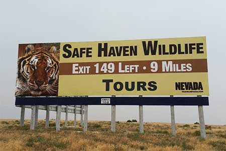 Safe Haven Wildlife Refuge billboard, I-80 Nevada at Mill City