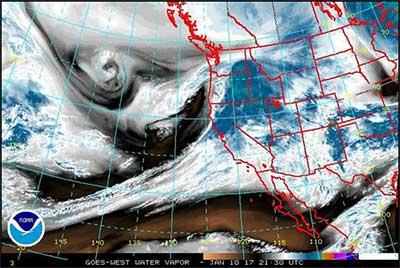 Satellite image of Nevada-bound blizzard