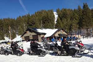 Zephyr Cove Lodge snowmobiles, Lake Tahoe Nevada