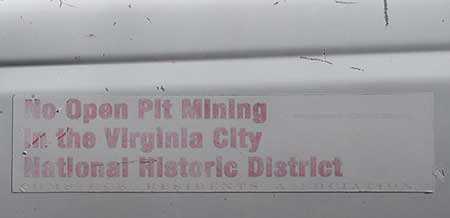 'No Open Pit Mining in the Virginia City National Historic Landmark' bumper sticker