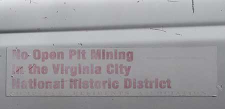'No Open Pit Mining in the Virginia City National Historic Landmark' bumper sticker