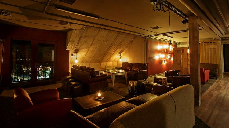 The cozy lounge at The Loft