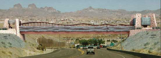 Pedestrian bridge across the entrance road to Laughlin Nevada