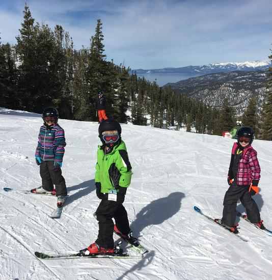 Young skiers enjoying a sunny day at Heavenly Valley