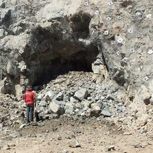 Tunnel blast in the Lucerne Pit, Gold Hill Nevada