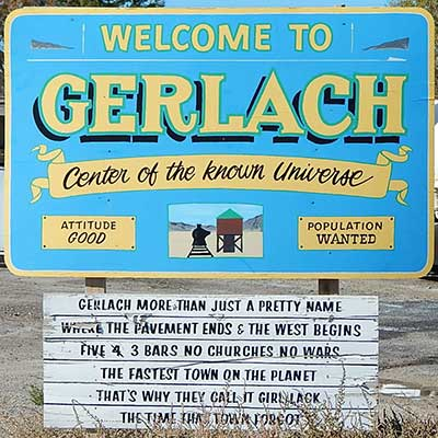 Sign: Welcome to Gerlach Nevada