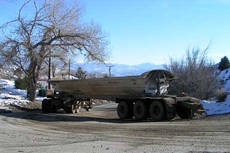 CMI ore truck on the public highway, Gold Hill Nevada